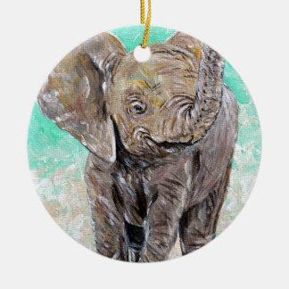 Éléphant de bébé ornement rond en céramique