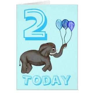 Éléphant de célébration (bleu) carte de vœux