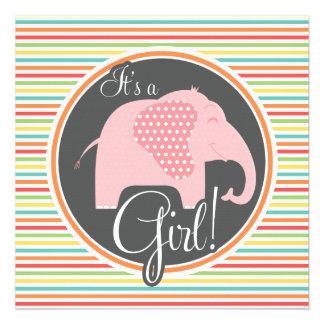 Éléphant de fille rayures lumineuses cartons d'invitation
