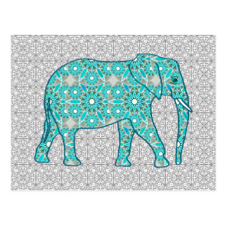 Éléphant de fleur de mandala - turquoise, gris et cartes postales