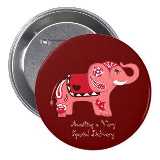 Éléphant de henné (rouge/rose) (baby shower) badge