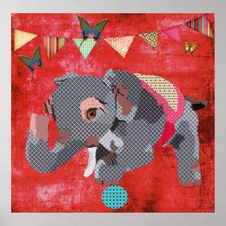 Éléphant de Lil et affiche chanceux de rouge de pa