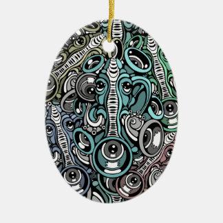 éléphant de musique ornement ovale en céramique