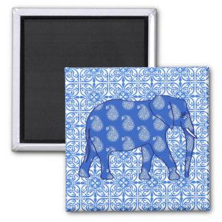 Éléphant de Paisley - bleu et blanc de cobalt Magnet Carré