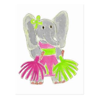 Éléphant de pom-pom girl carte postale