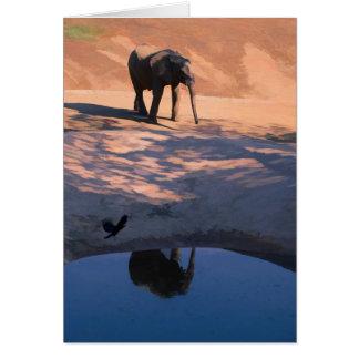 Éléphant de réflexion dans la carte de voeux de