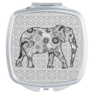 Éléphant de remous de fractale - gris, noir et miroir de poche