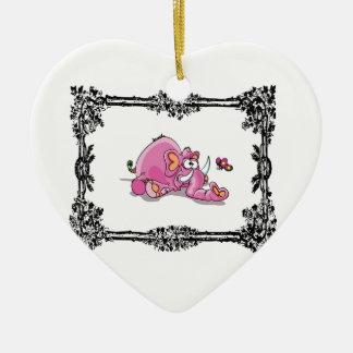 éléphant de rose dans la boîte ornement cœur en céramique