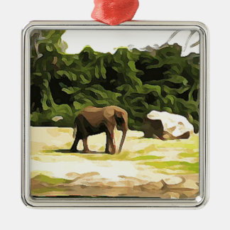 Éléphant de safari ornement carré argenté