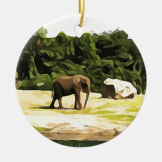 Éléphant de safari ornement rond en céramique