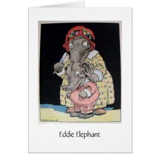 Éléphant d'Eddie et mère (blanc à l'intérieur) Carte De Vœux