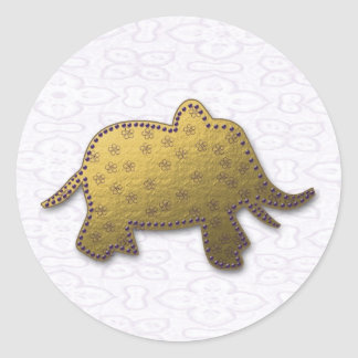 éléphant d'or sticker rond