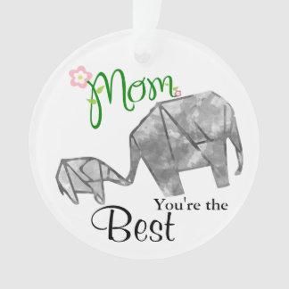Éléphant d'origami de mère et d'enfant avec le