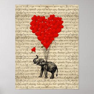 Éléphant et ballons en forme de coeur poster