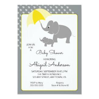Éléphant et bébé, invitation de baby shower de