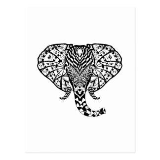 Éléphant ethnique de motif carte postale