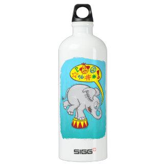 Éléphant fâché de cirque indiquant de mauvais mots bouteille d'eau en aluminium