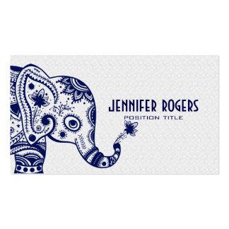 Éléphant floral bleu au-dessus de l'arrière - plan carte de visite