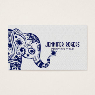 Éléphant floral bleu au-dessus de l'arrière - plan cartes de visite