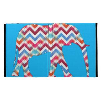Éléphant génial de Chevron de zigzag sur le bleu t Coques iPad Folio