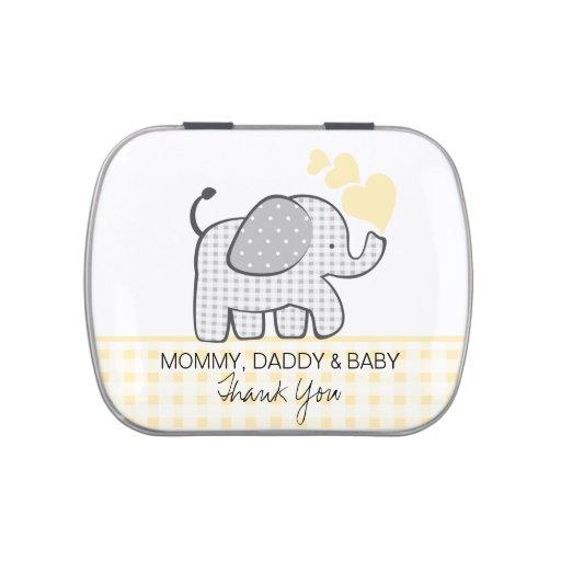 Éléphant gris de guingan avec les coeurs jaunes boite à bonbons