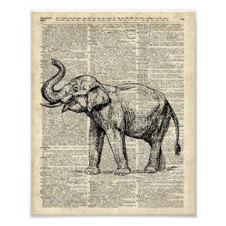 Éléphant heureux au-dessus de page vintage de photographies d'art