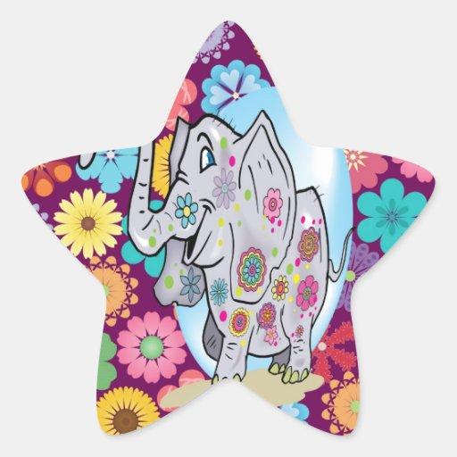 Éléphant hippie mignon avec les fleurs colorées autocollant en étoile