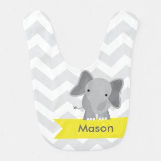 Éléphant jaune gris personnalisé de Chevron Bavoirs De Bébé