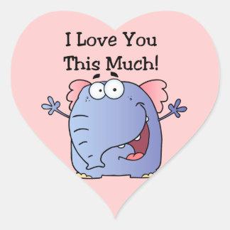 Éléphant je t'aime ce beaucoup sticker cœur