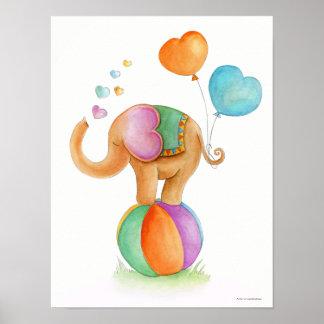 Éléphant lunatique de cirque sur une affiche de poster