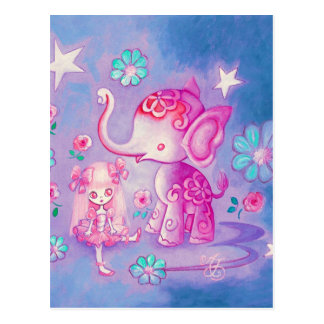 Éléphant mignon avec la fille d'une chevelure rose carte postale