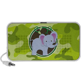 Éléphant mignon camo vert clair camouflage haut-parleurs iPod