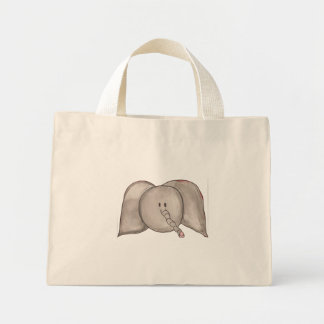 Éléphant mignon de bande dessinée d'aquarelle sac en toile