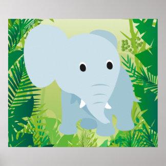 Éléphant mignon de bébé affiche