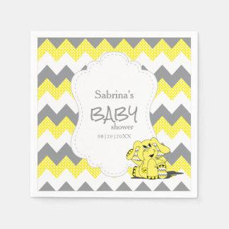 Éléphant mignon idiot jaune drôle de bébé de serviettes en papier