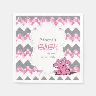 Éléphant mignon idiot rose drôle de bébé de serviette jetable