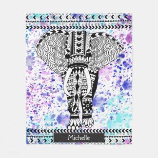 Éléphant modelé par tribal turquoise d'aquarelle couverture polaire