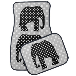 Éléphant noir et blanc de pois tapis de sol