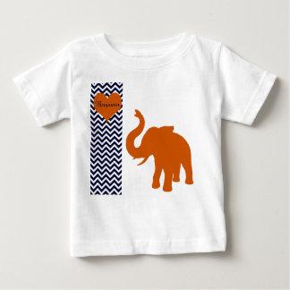 Éléphant orange avec Chevron bleu personnalisé T-shirt Pour Bébé