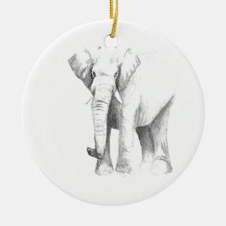 Éléphant Ornement Rond En Céramique