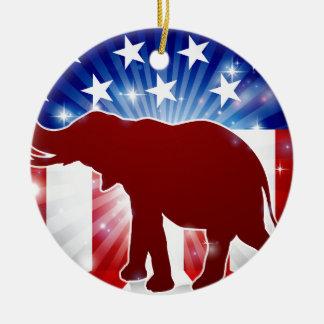 Éléphant politique de républicain de mascotte ornement rond en céramique