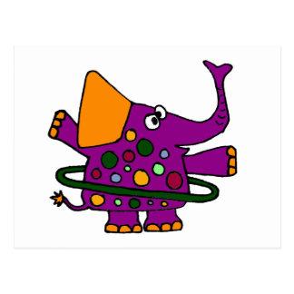 Éléphant pourpre jouant le cercle de danse carte postale