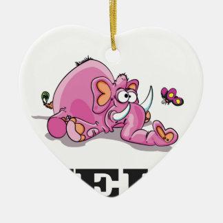 éléphant rose d'aide ornement cœur en céramique