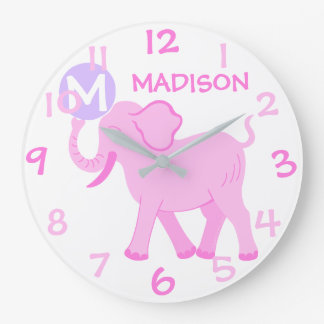 Éléphant rose de bande dessinée de crèche de bébé grande horloge ronde
