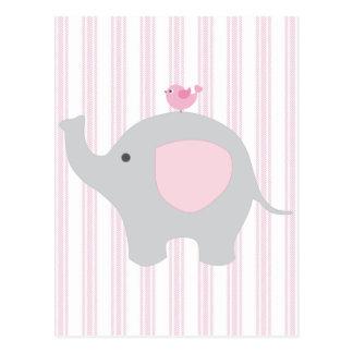 Éléphant rose de beau bébé cartes postales