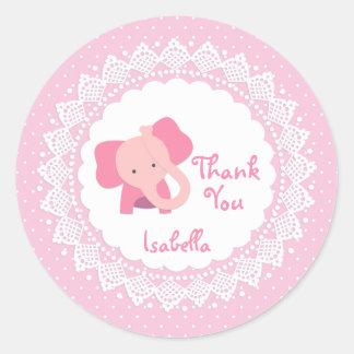 Éléphant rose, dentelle, autocollant de Merci de