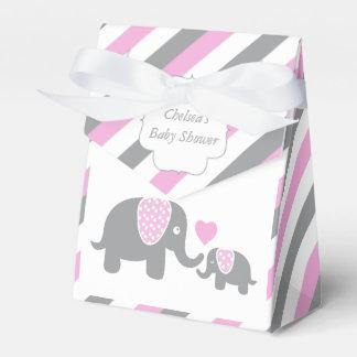 Éléphant rose et gris de rayure boites faveurs de mariage