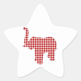 Éléphant rouge de pied-de-poule sticker étoile