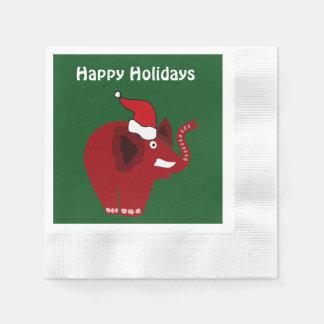 Éléphant rouge drôle de Noël Serviettes Jetables