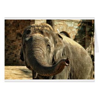 Éléphant se dirigeant en avant avec le tronc carte de vœux